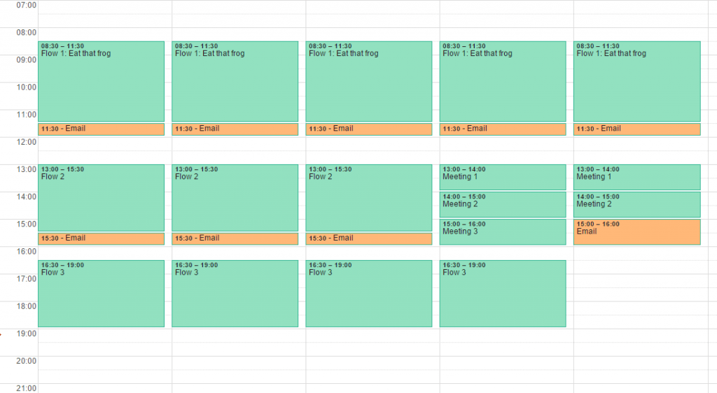 Timeboxing - Example of a calendar